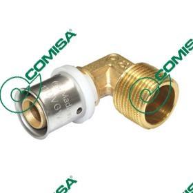 Press koljeno za PEX i PE-RT cijevi 26x3x3/4'' 90° MŽ - Comisa