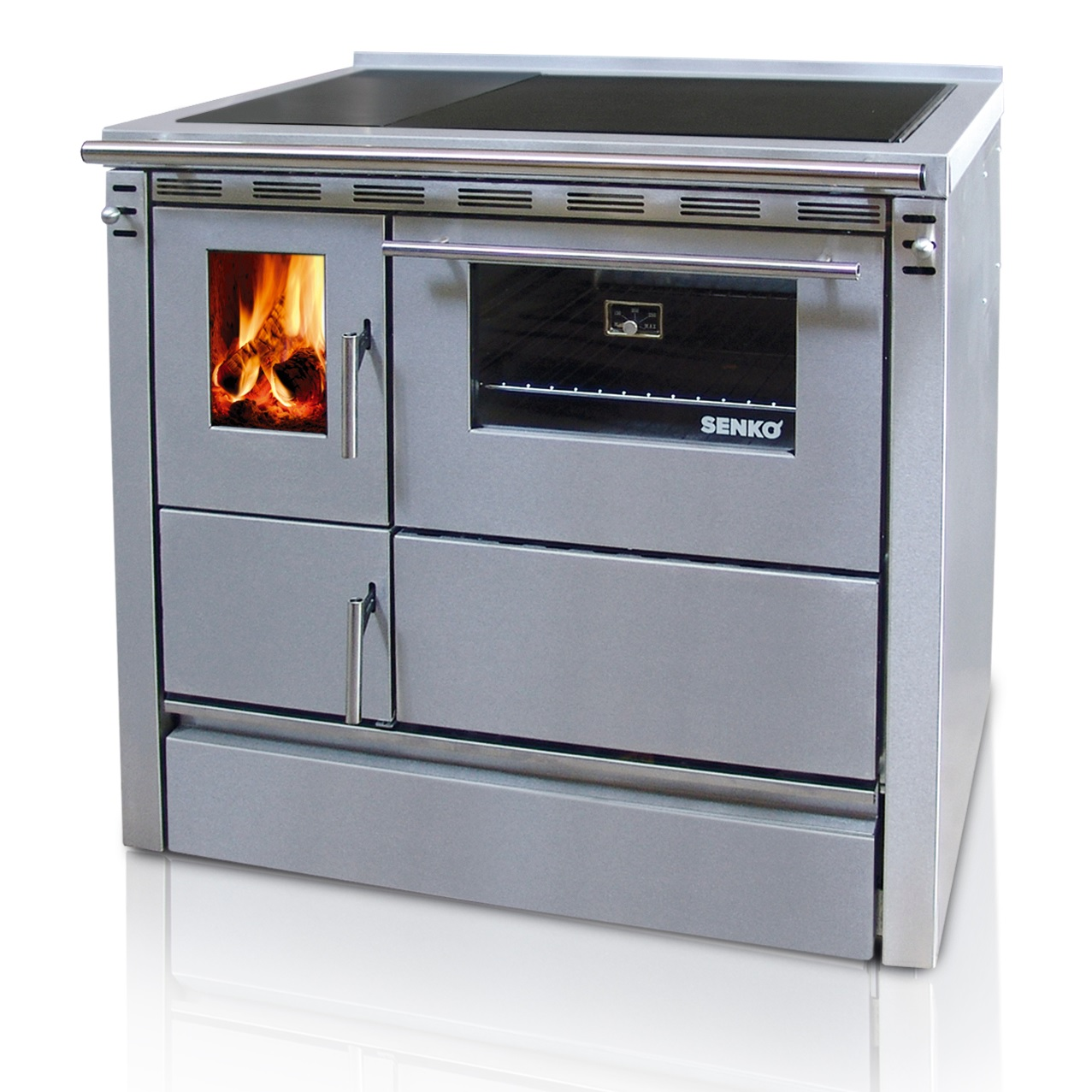 SENKO solid fuel cooker SG-90 2390D (7.5kW), chimney connection on ...